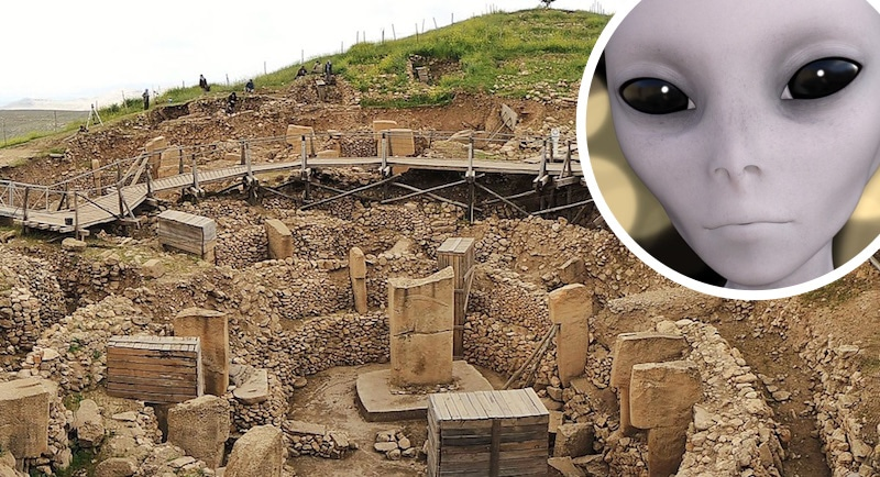 Gobekli Tepe and an inset of an alien face