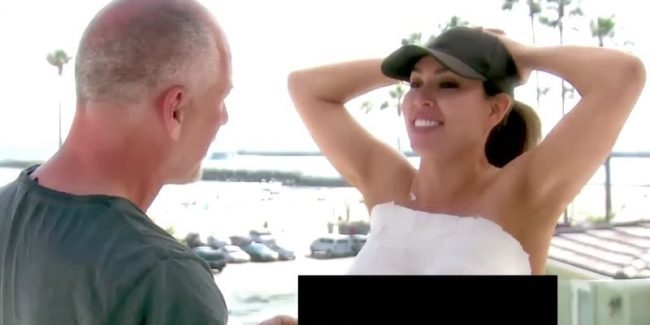 Kelly Dodd with plaster on her breasts as husband Michael applies it