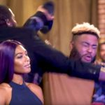 Misster Ray throwing a shoe next to Moniece on Love & Hip Hop Hollywood