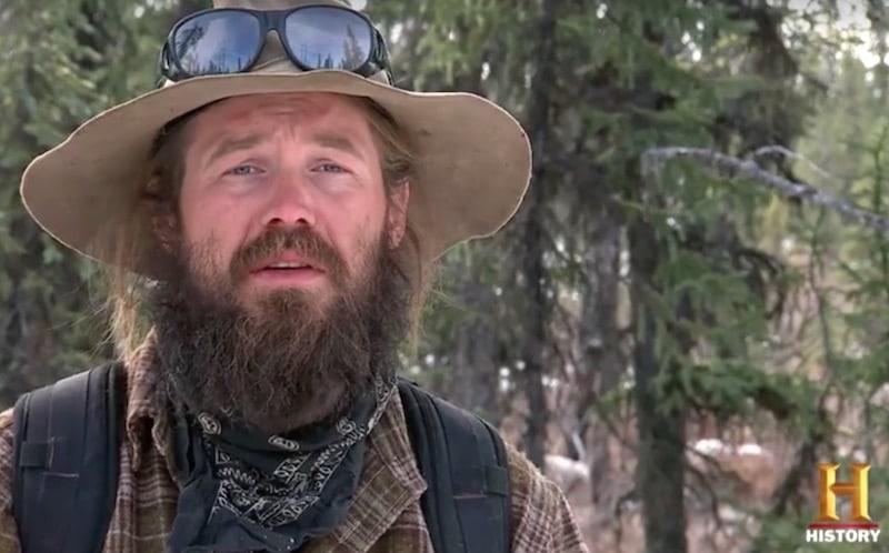 Morgan Beasley speaking to the camera on Mountain Men