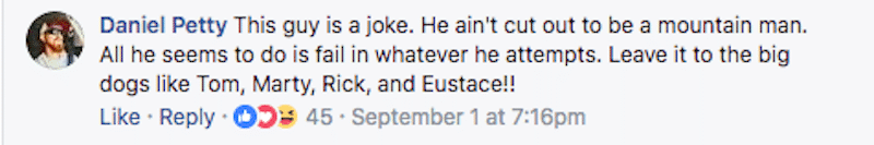 Comment on Mountain Men Facebook page