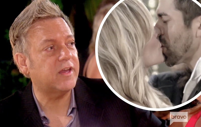 Ricky Santana on The Real Housewives of Orange County and an inset of Tamra and Eddie Judge kissing at their wedding