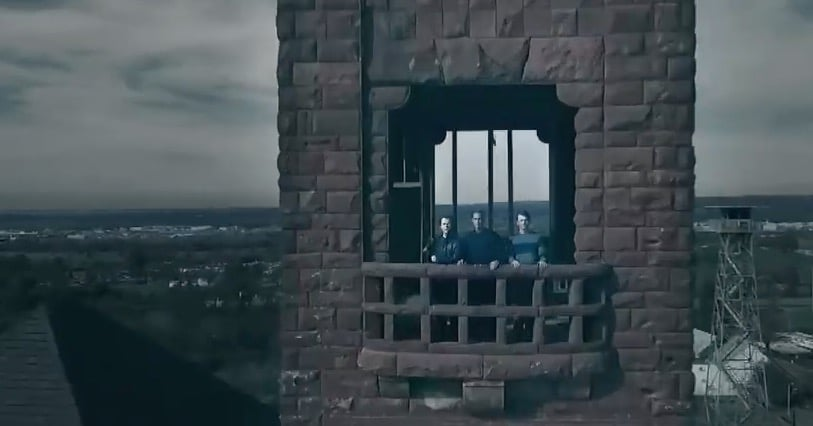 Rob Lowe and his sons on a tower