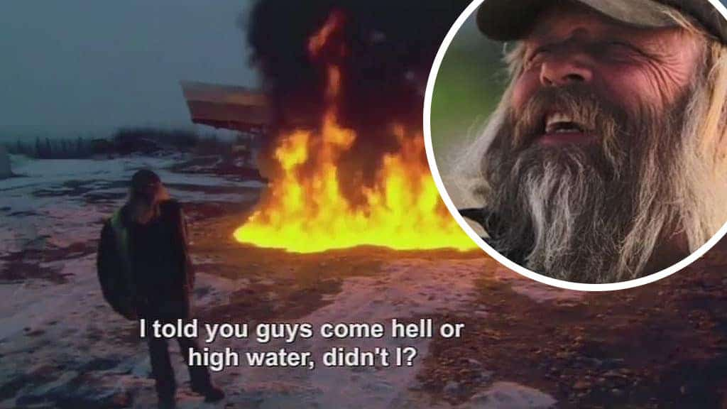 Tony Beets setting fire to a pond on Gold Rush, and an inset of his face