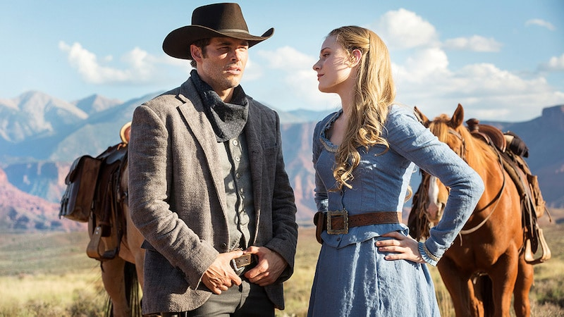 James Marsden as Teddy Flood and Evan Rachel Wood as Dolores Abernathy in Westworld
