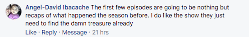 Curse of Oak Island Facebook comment