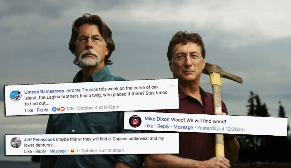 Rick and Marty Lagina from The Curse of Oak Island and three Facebook comments