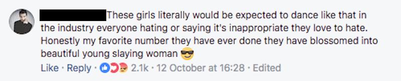 Dance Moms Facebook comment