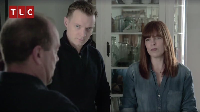 Amy and Adam talking to the homeowners on Kindred Spirits