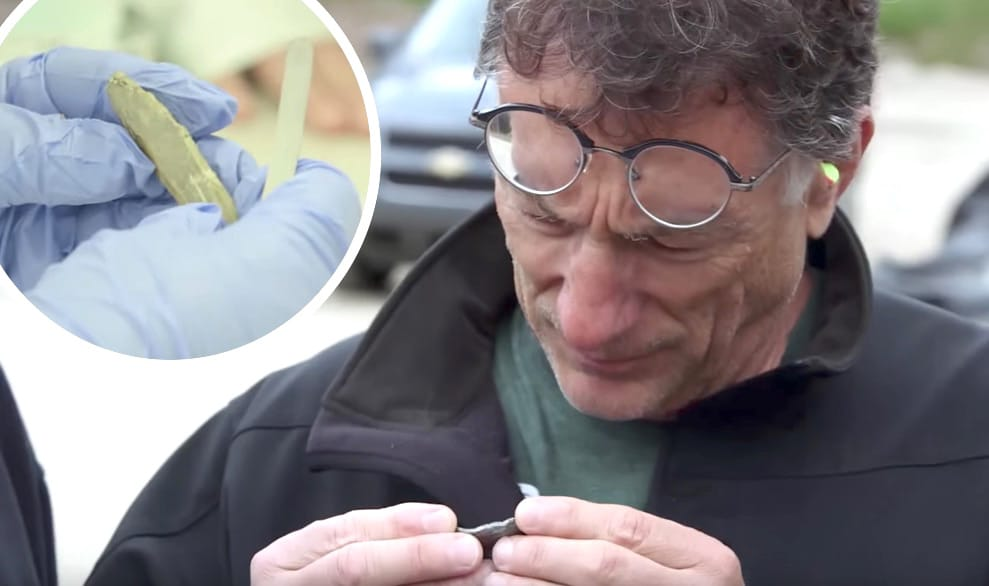 Marty examining the fragment and the fragment in the lab in The Curse of Oak Island Season 5 trailer