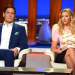 Spanx founder Sara Blakely and Mark Cuban sitting next to each other on Shark Tank