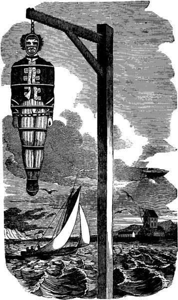 Captain Kidd on a gibbet after his hanging