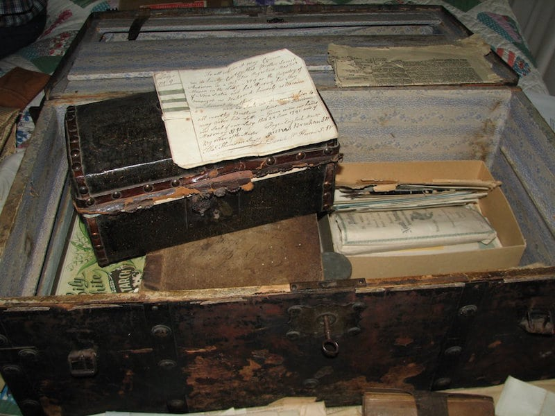 James Anderson's Sea Chest with Masonic document
