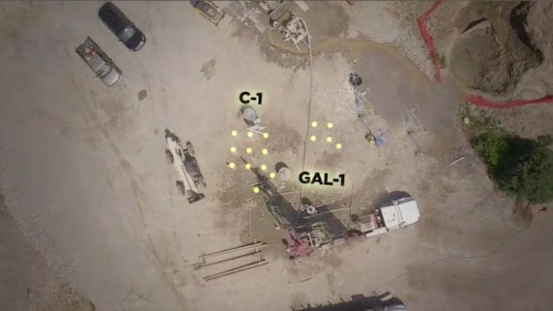 The 16 shafts seen from above