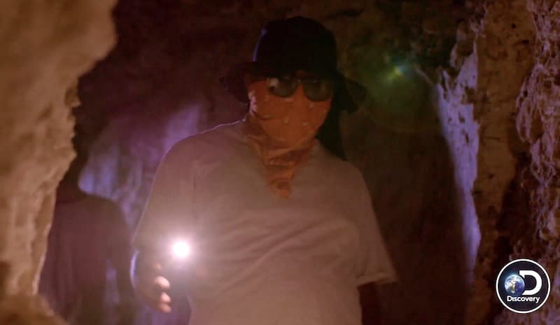 Masked guide in tunnel with torch