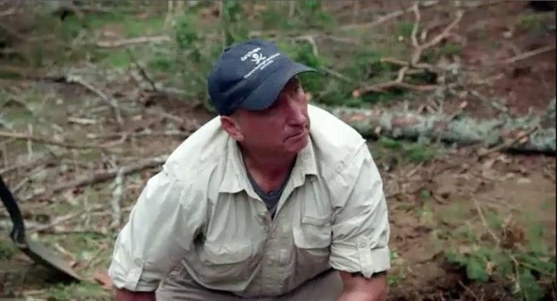 Gary Drayton kneeling in the Dunfield Spoils area