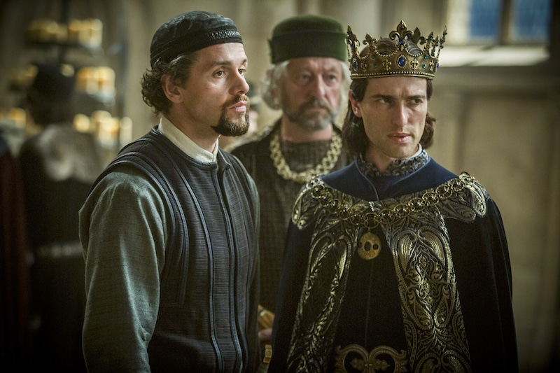 L to R: William De Nogaret (Julian Ovenden) and King Philip IV of France (Ed Stoppard) from HISTORY's New Drama Series Knightfall