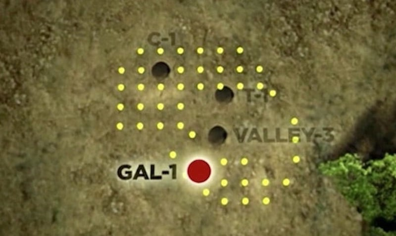 The animation of the drilling pattern which shows where the team plan to dig