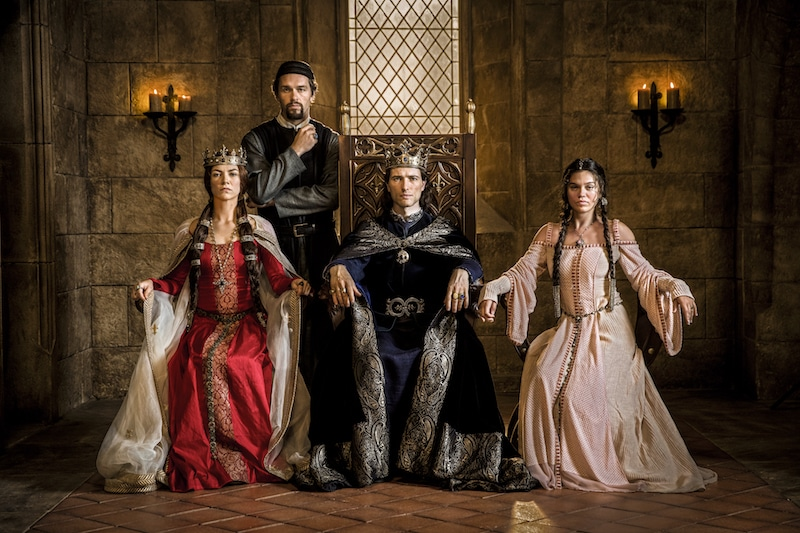 L to R: Queen Joan of Navarre (Olivia Ross), William De Nogaret (Julian Ovenden), King Philip IV of France (Ed Stoppard) and Princess Isabella (Sabrina Bartlett) from HISTORY's New Drama Series Knightfall.