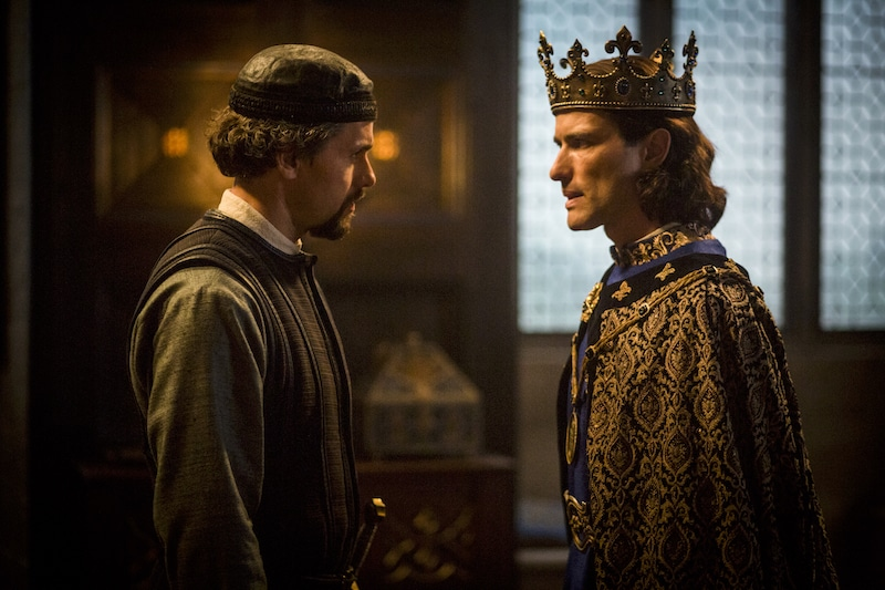 L to R: William De Nogaret (Julian Ovenden) and King Philip IV of France (Ed Stoppard) from HISTORY's New Drama Series Knightfall.