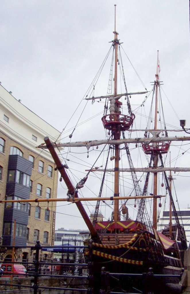 A replica of his ship the Golden Hind