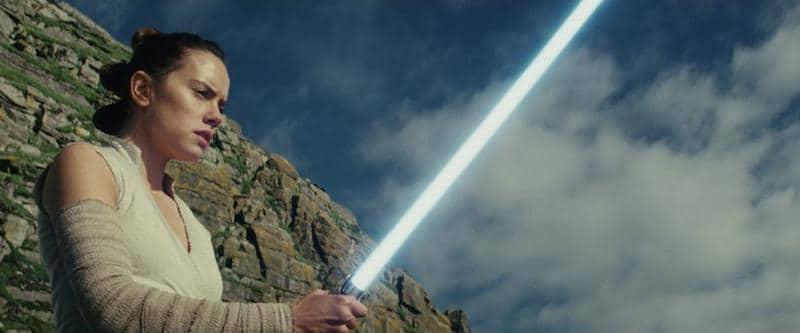 Rey with light saber - The Last Jedi
