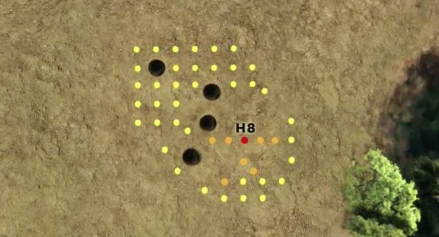 Animation showing the location of H-8