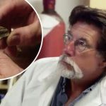 Rick Lagina and bone fragment on The Curse of Oak Island