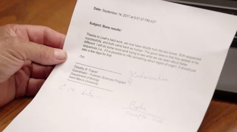 Letter about human bones