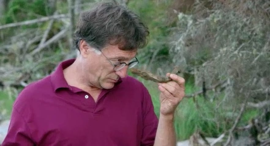 Marty examining spike