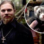Noah Brown and his pet ferret