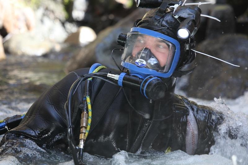 Dustin in diving gear