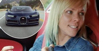 Jessi Combs and Bugatti Chiron on Jay Leno's Garage