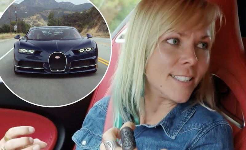 Jessi Combs and Bugatti Chiron on Jay Leno's Garage