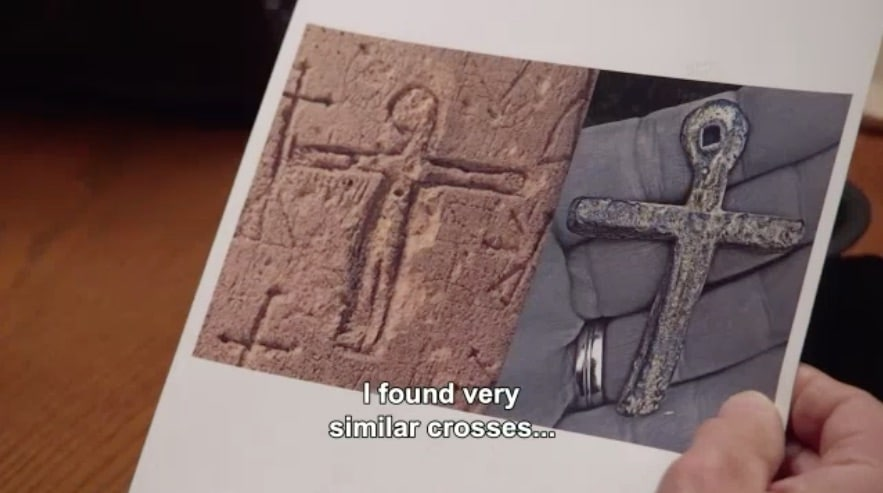 Medieval cross and closed caption