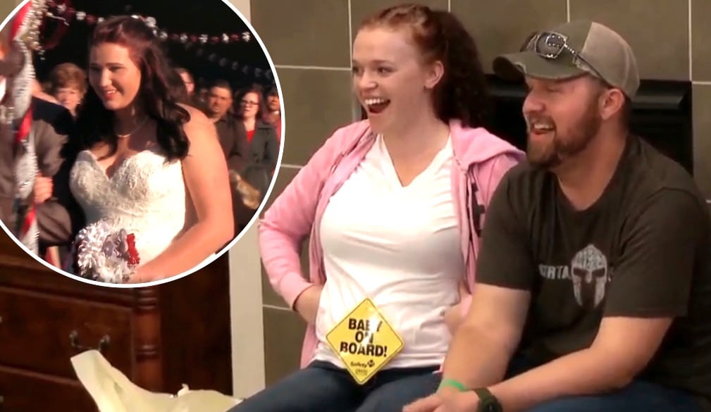 Maddie with 'baby on board' sign and Mykelti on Sister Wives