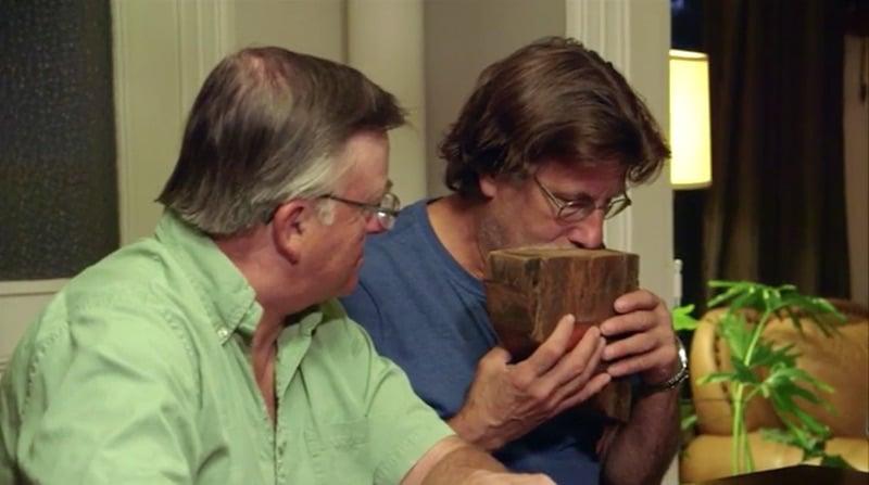 Rick sniffs wood