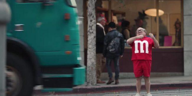 Danny DeVito in the M&M's 2018 Super Bowl commercial