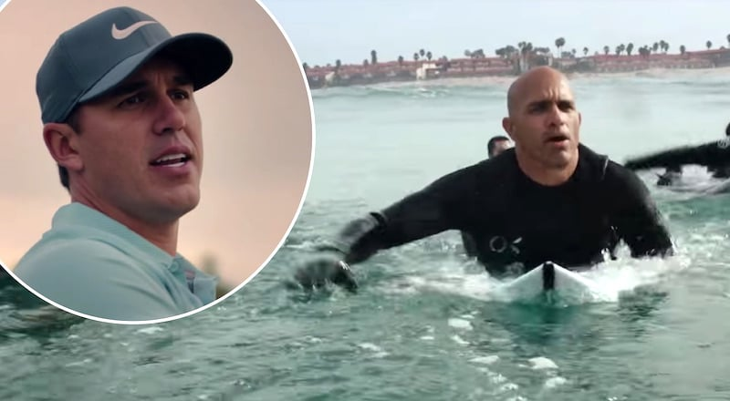 Brooks Koepka and Kelly Slater in the 2018 Super Bowl commercial for Michelob ULTRA