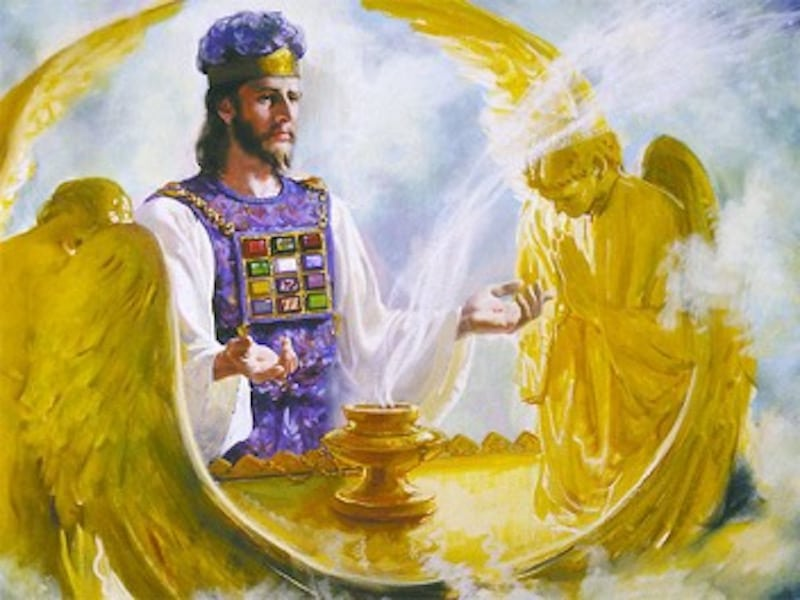 High Priest wearing the Breastplate with the Ark of the Covenant