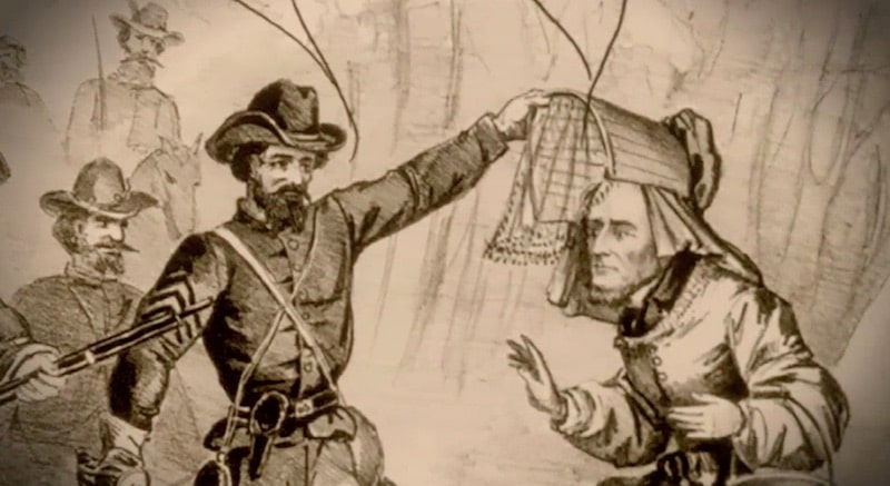 Illustration of Pritchard capturing Jefferson Davis