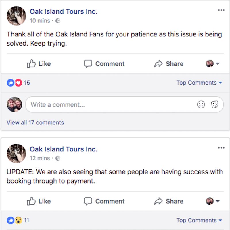 Oak Island tours comment