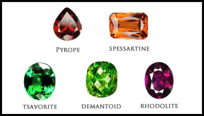 Photo of the various types of garnets