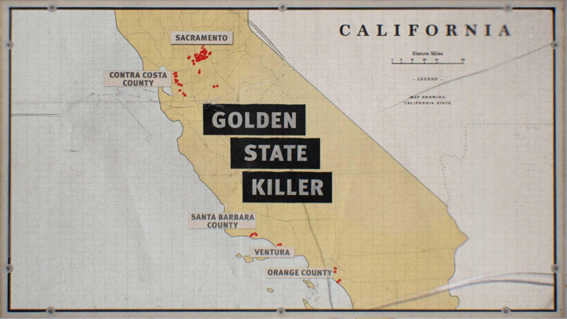 A map showing the area covered by the Golden State Killer
