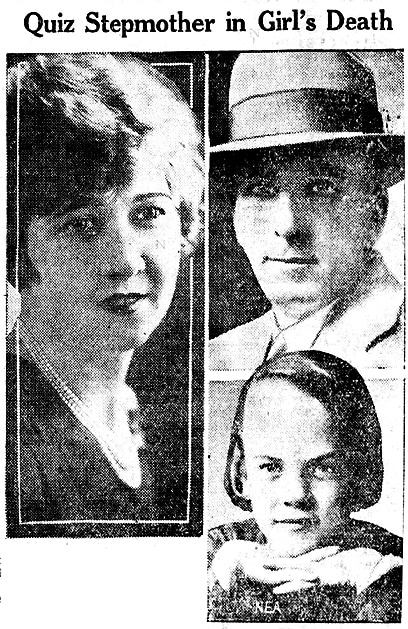 PearlO'Loughlin, her stepdaughter Leona and t her police detective husbandLeo O'Loughlin in this lback and white montage
