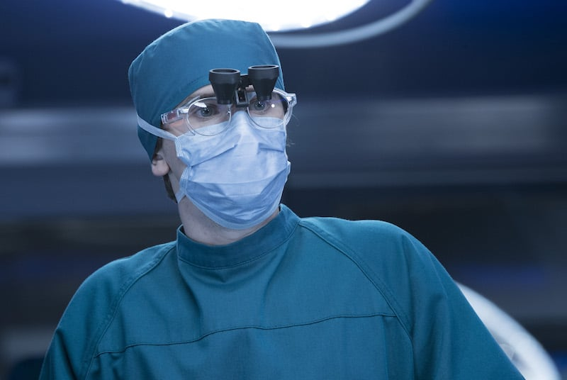 Freddie Highmore in scrubs as Dr. Shaun Murphy in The Good Doctor