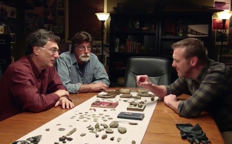 Marty Lagina, Rick Lagina and Matty Blake in the 'War Room' on The Curse of Oak Island: Drilling Down
