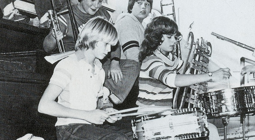 Kurt Cobain as a child with drums
