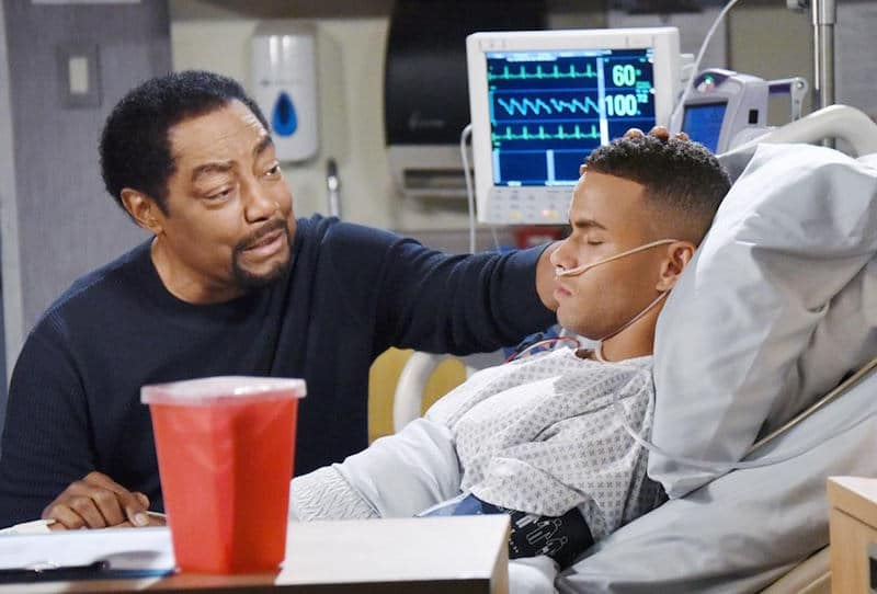 James Reynolds as Abe and Kyler Pettis as Theo on Days of our Lives