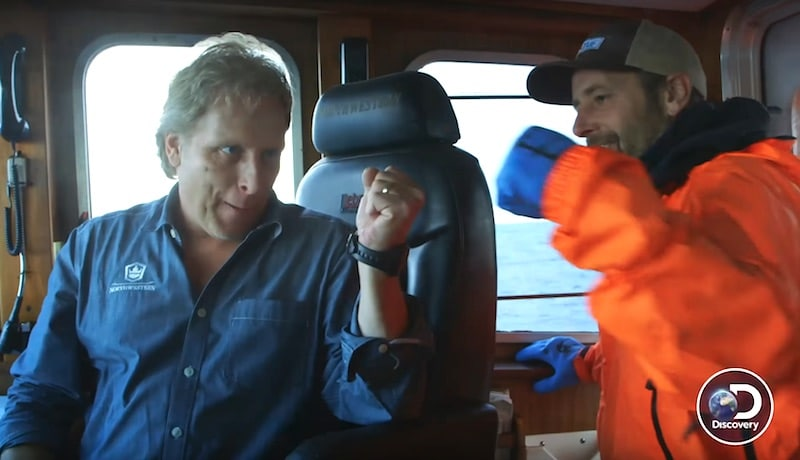 Sig Hansen fist-pumps in celebration on Deadliest Catch
